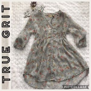🆕True Grit- floral sheer pleated tunic- Small